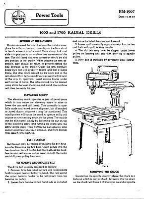 Walker Turner 1600 1700 Radial Drills Operator Instructions Parts Manual 190