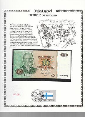 Finland 10 Markkaa 1980 P111a.24 GEM UNC w/FDI UN FLAG STAMP Uusivirta-Hamalaine