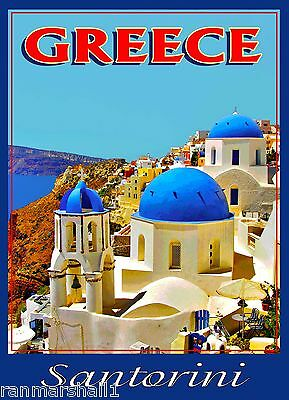 Santorini Island Greece Aegean Greek European Travel Poster Art Advertisement
