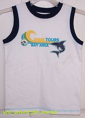 Carters Boys Tank Top - CARTER'S White & Blue Shirt / TANK TOP 'Shark Tours' - Boys 6 - NEW / NWT