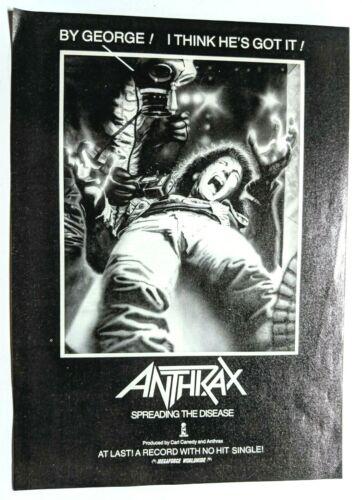 ANTHRAX / SCOTT IAN / 1985 SPREADING THE DISEASE LP / ALBUM PRINT ADVERTISEMENT