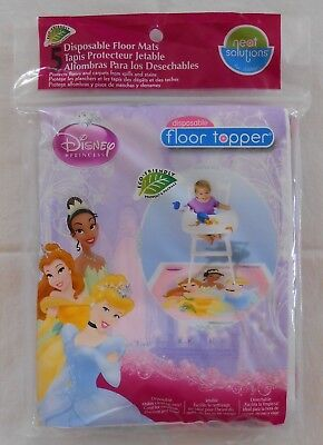Floor Topper DISNEY PRINCESSES Disposable Baby Toddler Feeding Mats 5 pk