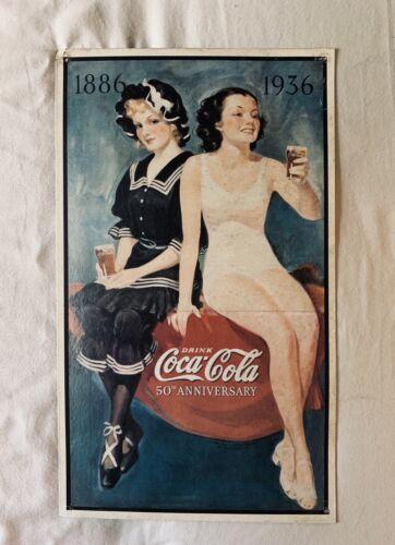 Vintage Metal Coca Cola 50th Anniversary 1886-1936 Sign - $15.99