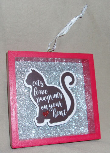 """3.5"""" sq Wooden Shadow Box Christmas Ornament Cats Leave Paw Prints On Your Heart"""