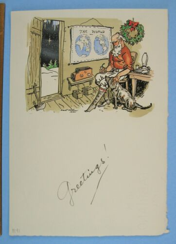 Smithsonian ties 1941 Signed Walt Kuhn Holiday Christmas Card Ink & Water Color