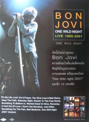 "BON JOVI ""ONE WILD NIGHT 1985-2001"" THAILAND PROMO POSTER - Jon Leaning On Mic"