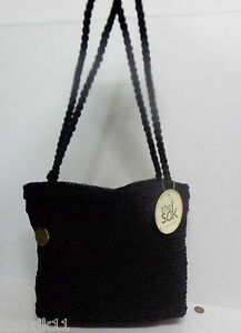 NEW-The-SAK-Black-CROCHET-Cambria-Weave-Shoulder-HANDBAG-Purse-DBL ...