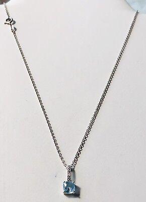 "Sterling Silver Blue Topaz Cubic Zirconia Dangle Pendant/Necklace 16"" Blue Topaz Dangle Pendant"