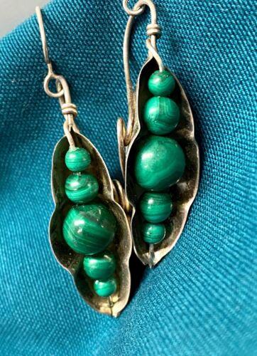 Vtg Sterling Silver Figural Pea Pod Malachite Bead Dangle Earrings