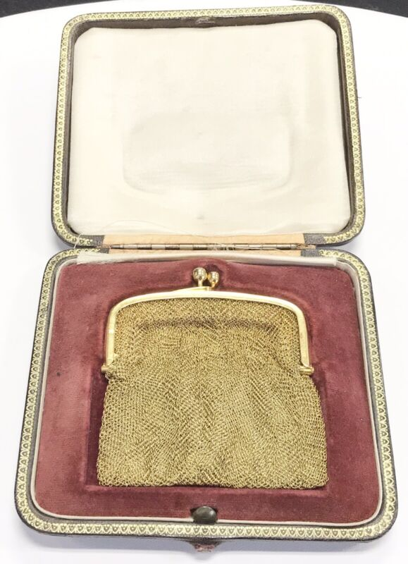 Antique 14 Kt Gold Sapphire Mesh Coin Purse Fitted Box 67.1 Grams Circa 1800s