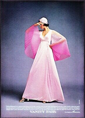 291d06aa7af 1974 Vanity Fair Pleated Sleeve Shining Rose Pink Gown photo vintage print  ad