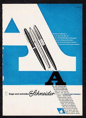 3w2418/ Alte Reklame von 1961 - SCHNEIDER Kugelschreiber