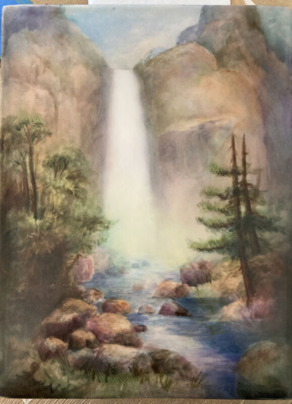 Beautiful Antique Limoges (T&V) Waterfall Landscape Plaque