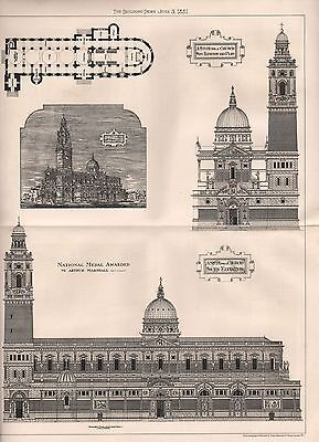 1881 ANTIQUE ARCHITECTURAL PRINT- NATIONAL MEDAL AWARD DESIGN FOR A CHURCH