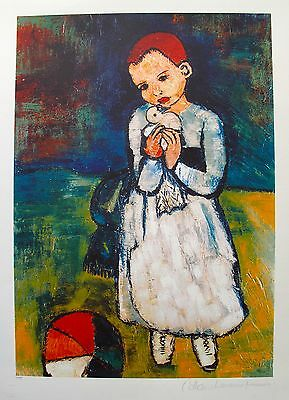 Pablo Picasso CHILD WITH DOVE Estate Signed & Stamped Limited Edition Giclee Art