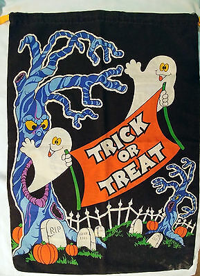 Halloween Trick or Treat Bag - Pillowcase-like Satchel: Ghosts, Haunted House - Pillowcase Halloween Treat Bags