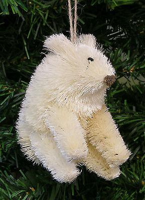 NATURAL BURI BRISTLE POLAR BEAR CHRISTMAS TREE ORNAMENT ()