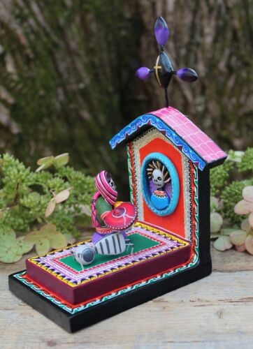 Day of the Dead Woman Dog Visiting Grave Handmade Puebla Mexican Folk Art Muerto