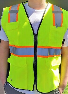 Surveyor Lime And Black Safety Vest Ansi Isea 107-2015 Small To 3-xl