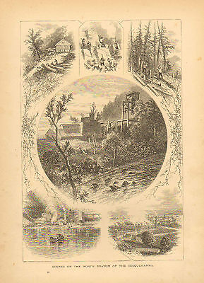Susquehanna, PA. Lumbering, Riverboat, Quarry Work, Vintage, Antique Art Print,