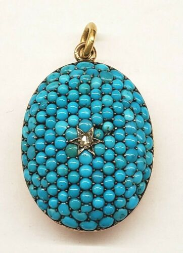 *ANTIQUE* VICTORIAN* 14K YELLOW GOLD*PERSIAN  TURQUOISE*DIAMOND* HAIR LOCKET*