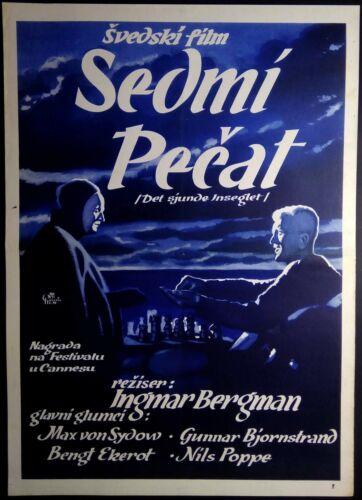 DET SJUNDE INSEGLET AKA SEVENTH SEAL BERGMAN 1957 FANTASTIC RARE MOVIE POSTER !