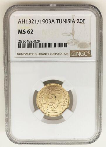 "AH 1321/1903 A-TUNISIA 20 Francs Gold Coin - NGC ""MS 62""     KM#: 234"