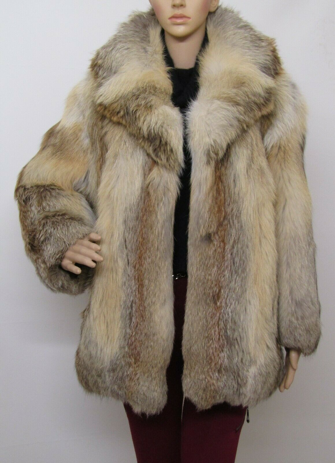 REAL RED FOX FUR VINTAGE RED BROWN BLACK WHITE JACKET COAT 6-8-10-12UK/M VOLPE