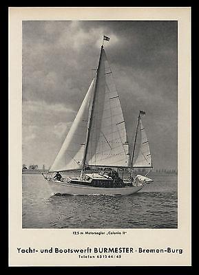 Grosse Werbung 1964 12,5 m Motorsegler Colonia II Yacht+Bootswerft Burmester