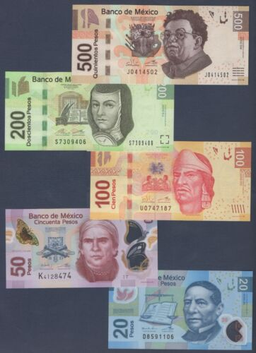 MEXICO PREVIOUS MINI SET***20/50/100/200/500 PESOS***UNC GEM***USA SELLER