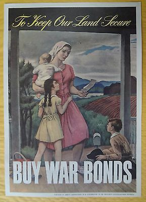 KAPPYS  RARE WWII BOND  POSTER TO KEEP OUR LAND SECURE  BY ABBOTT LABORATORIES