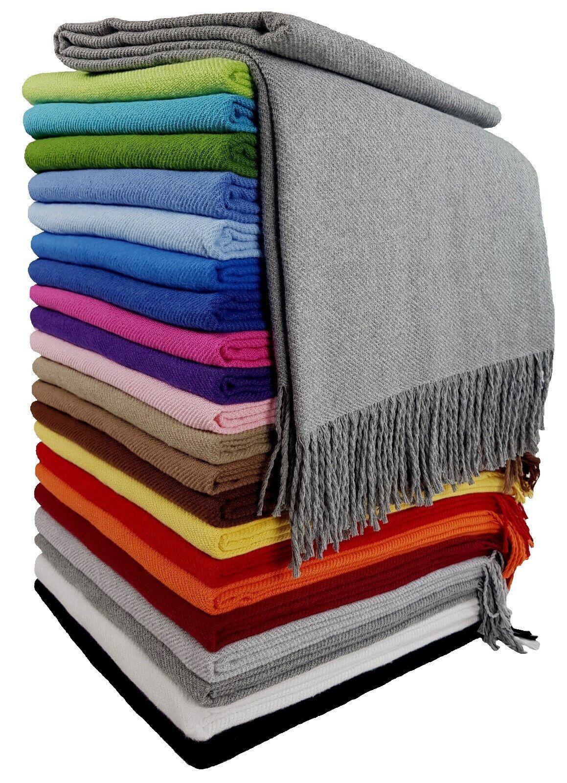 100% Baumwolldecke Wohndecke Wolldecke sehr weiches Plaid 130x170cm  Alle Farben