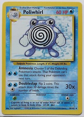 Poliwhirl 38 102 Base Set Pokemon Card    1 Flat Shipping   Never Played Nm  M