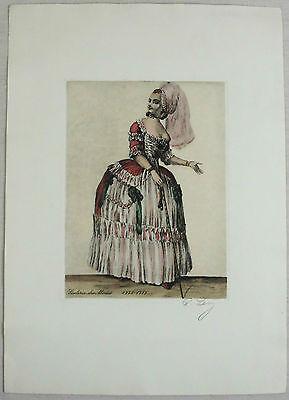 """Kolorierte Radierung """"Dame mit Stock"""" um 1880 - unleserlich signiert - Mode"""