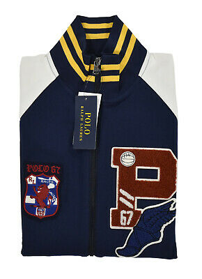 Polo Ralph Lauren P-Wing Patch Varsity Track Collegiate Baseball Jacket New