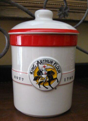 Vintage King Arthur Flour Sourdough Ceramic Crock Canister & Lid--40 oz.