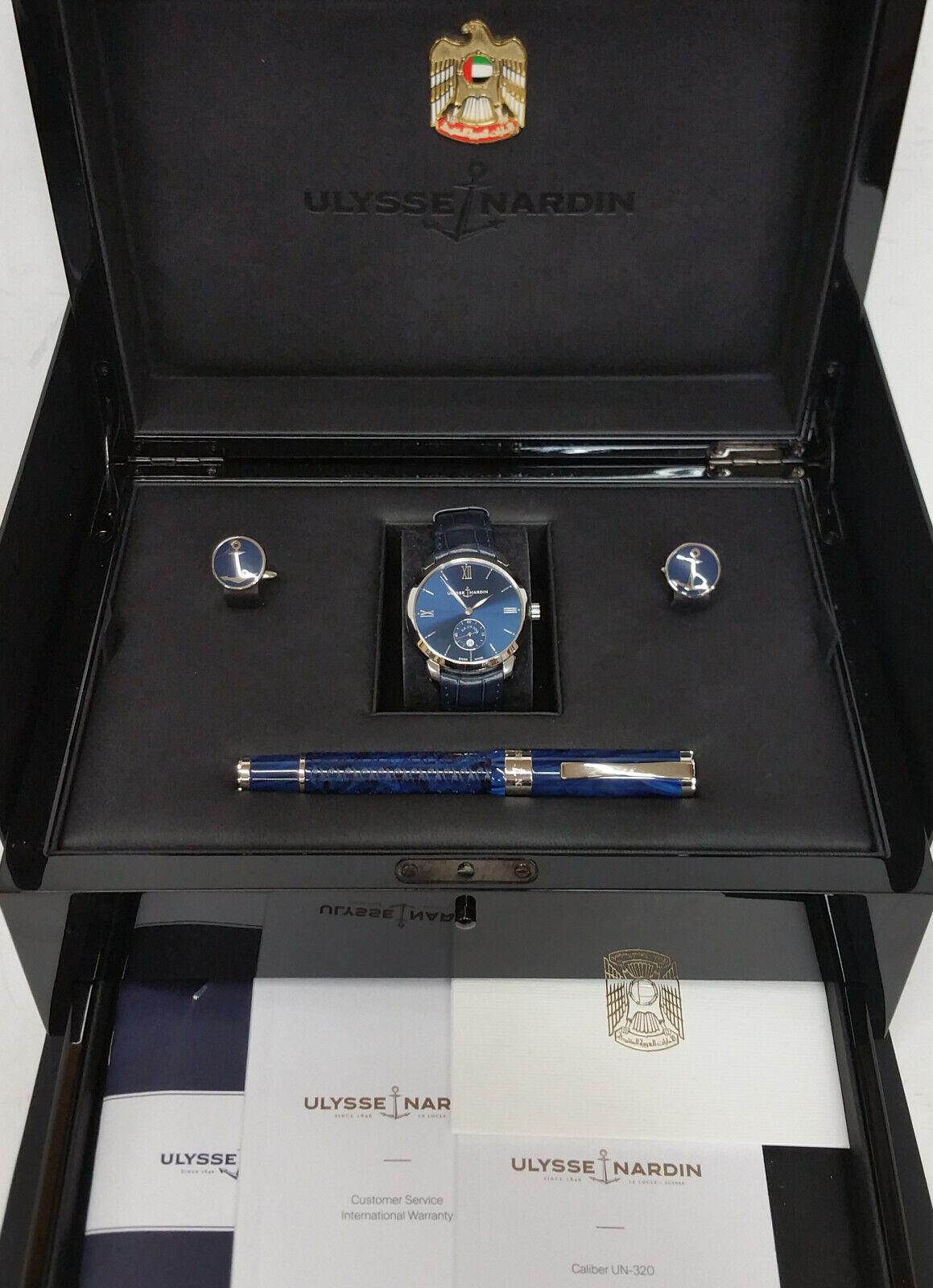 Saudi Sheik gift UN-320 Ulysse Nardin Classico Set Watch Box Paper Pen cufflinks - watch picture 1
