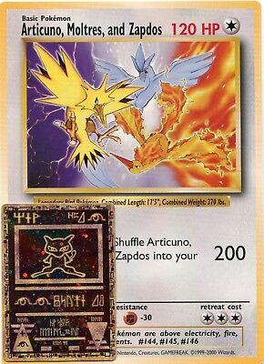 JUMBO Articuno, Moltres, Zapdos Pokemon Movie Promo Card Legendary Birds
