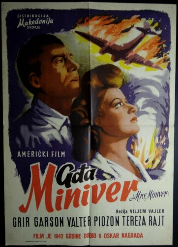 MRS. MINIVER William Wyler Greer Garson Walter Pidgeon 1942 EXYU MOVIE POSTER