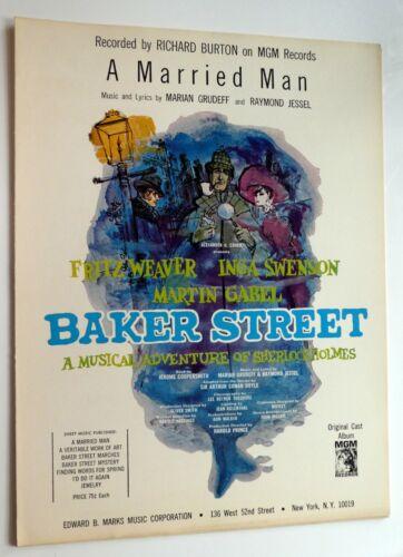 A MARRIED MAN Sheet Music Broadway BAKER STREET Sherlock Holmes  #486