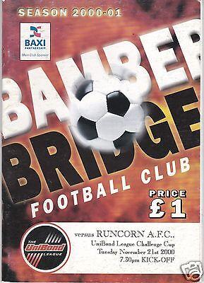 BAMBER BRIDGE V RUNCORN  NORTHERN LGE CUP  21/11/2000