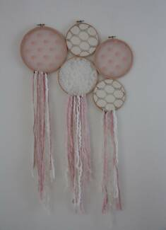 Handmade wall hanging - pink/white dreamcatcher