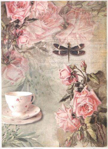 Rice Paper for Decoupage Decopatch Scrapbook Craft Sheet A/3 Vintage Tea & Roses