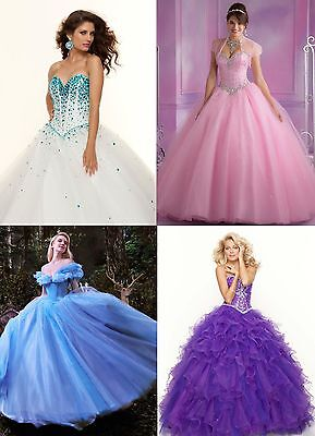 STOCK Princess/Evening/Prom/Party/Quinceanera/Pageant/Cocktail dress/Ballgown  Custom Made Prom Dress