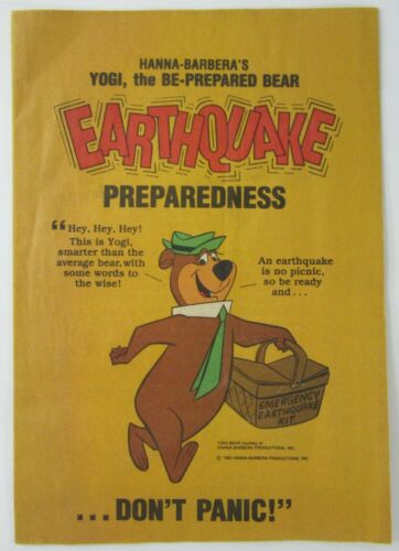 Vintage Yogi Bear Earthquake Preparedness Comic Hanna-Barbera Los Angeles 1983