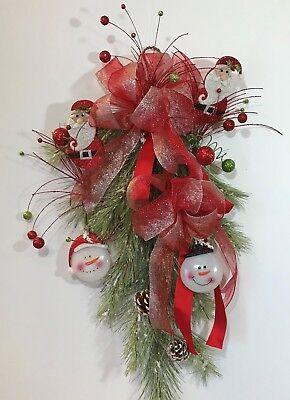 CHRISTMAS SANTA TEARDROP WREATH DOOR Go bust enclose LARGE SWAG ORNAMENTS HOLIDAY XMAS NEW