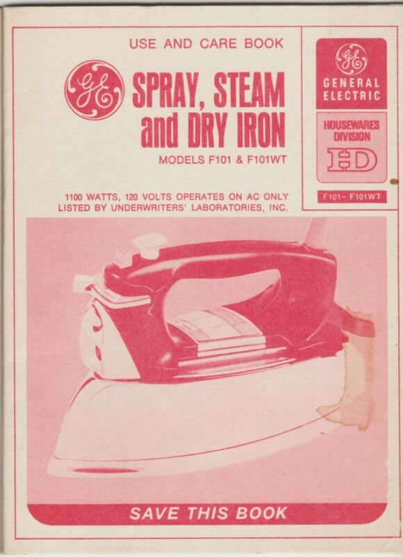 60s Vtg Owners Manual GE Steam Iron Model F101 F101WT 12 Pg Use and Care Book