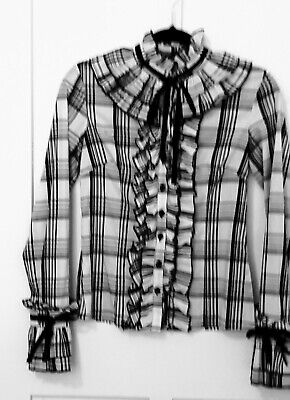 LADIES CHECK SHIRT 10 STEAMPUNK FRILLS CUFFS FRONT BUTTONED RUFFLES ELIZABE BOWS