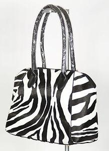 Ladies Sassy Duck Black White Zebra Animal Print Shoulder Hand Tote Barrel Bag