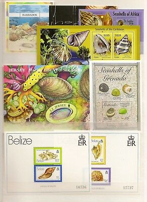 SHELLS MINIATURE SHEETS MNH (85) COMMONWEALTH MOSTLY 2000-17 MAINLY CARIBBEAN IS